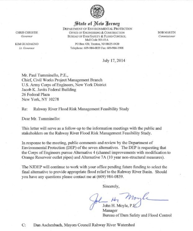 Ltr, NJ DEP to USACE Recommending Non-Dam Alternatives for Rahway Flood Abatement, 2014-07-17
